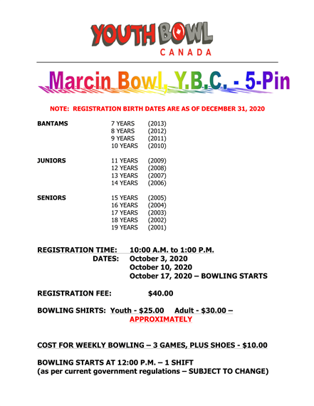 Youth Bowl Canada Marcin Bowl Y.B.C - 5-Pin