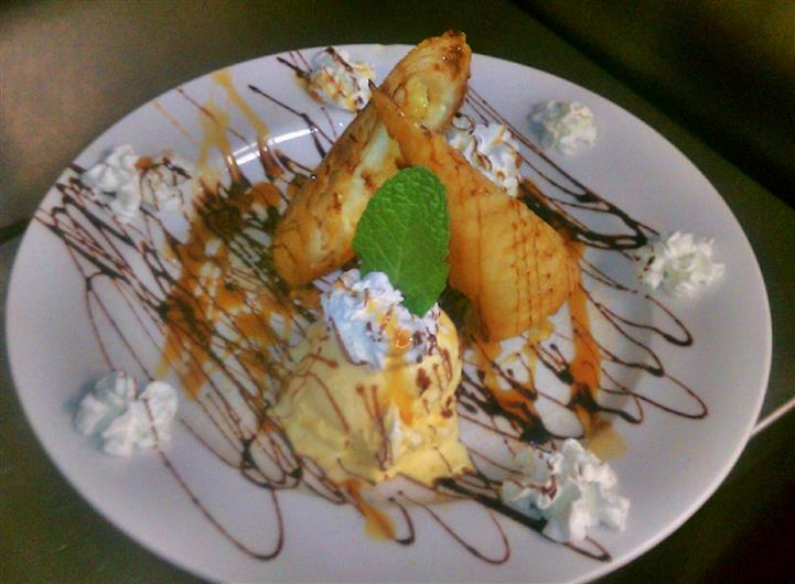 Dessert dish served with ice cream and whipped cream and decorated with syrup and a mint leaf