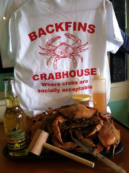 Backfins crabhouse tee shirt. Where crabs are socially acceptable. Tray of full crabs and land shark beer with mallot on tray.