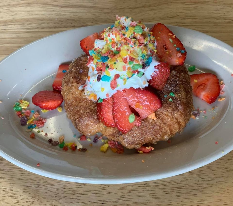 French Toast Croissant with fruity pebbles, berries & cream