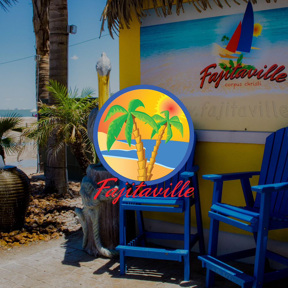 Beach chairs with Fajitaville logo in center