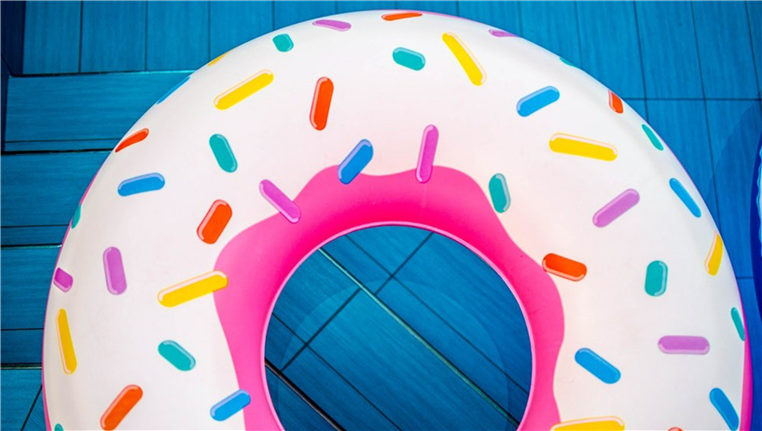 Donut pool float in pool