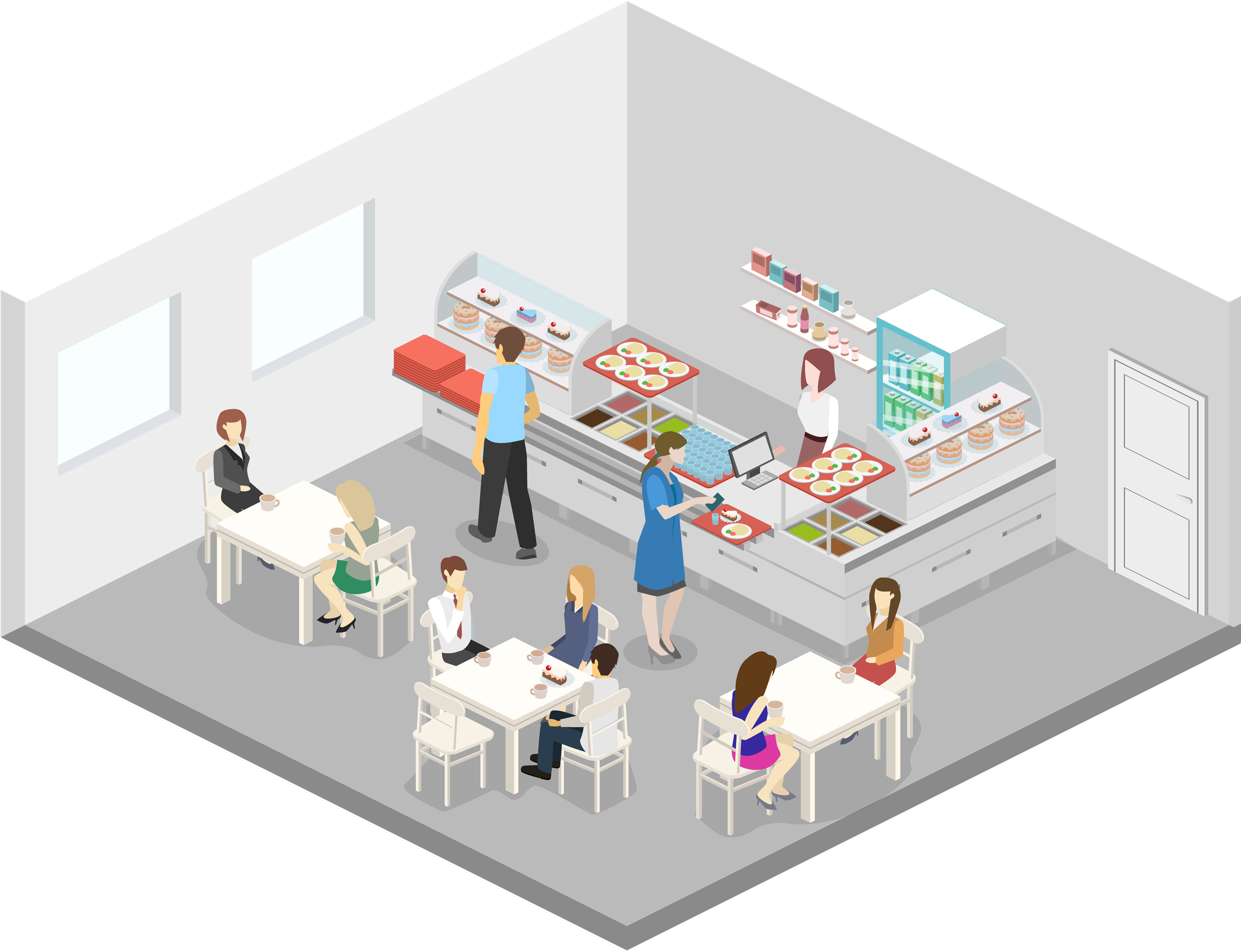 isometric graphic of kitchen
