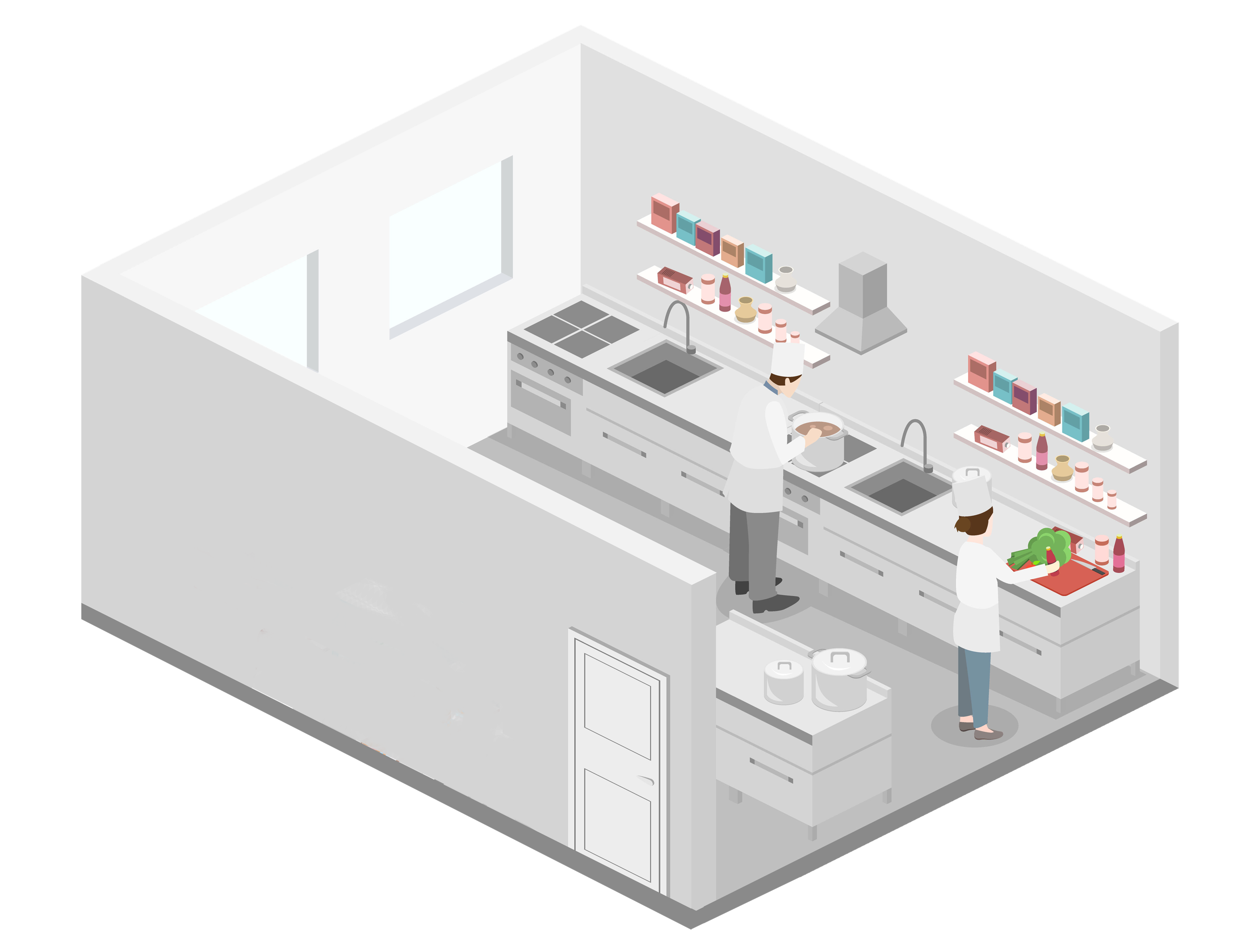 isometric graphic of restaurant