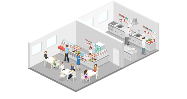 isometric graphic of restaurant and kitchen