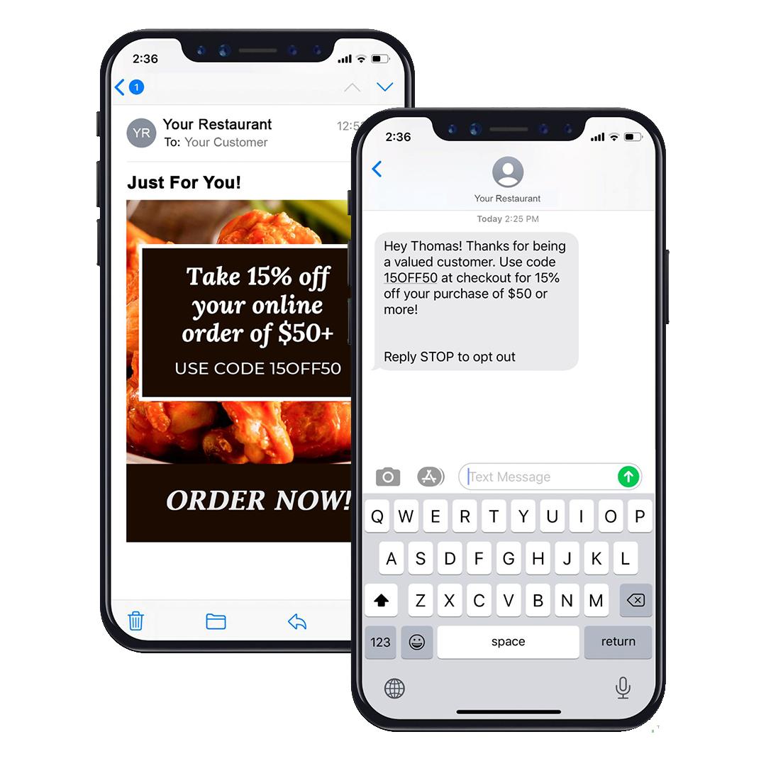 promo text and email example on iphone