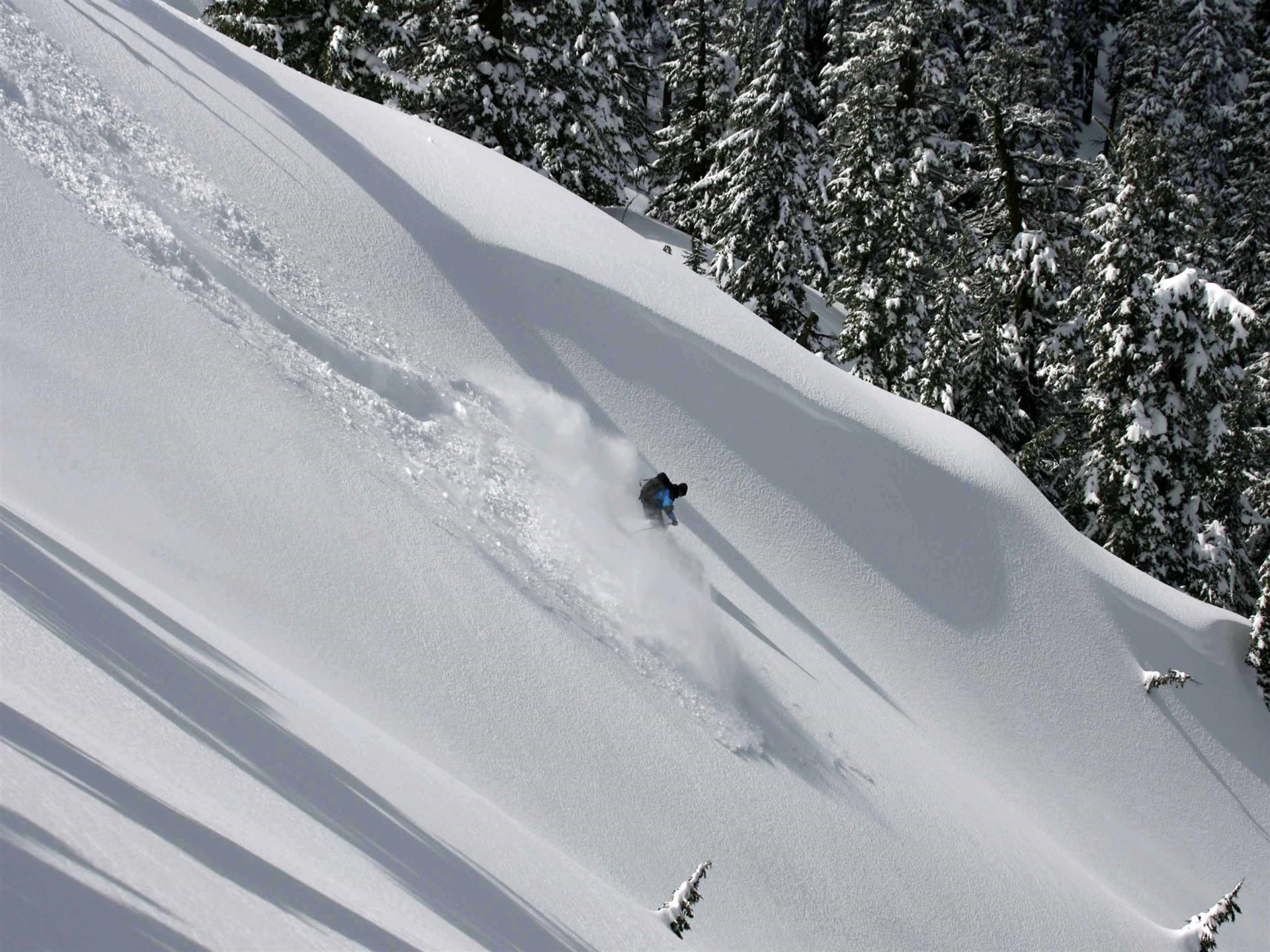 skier going down mountain