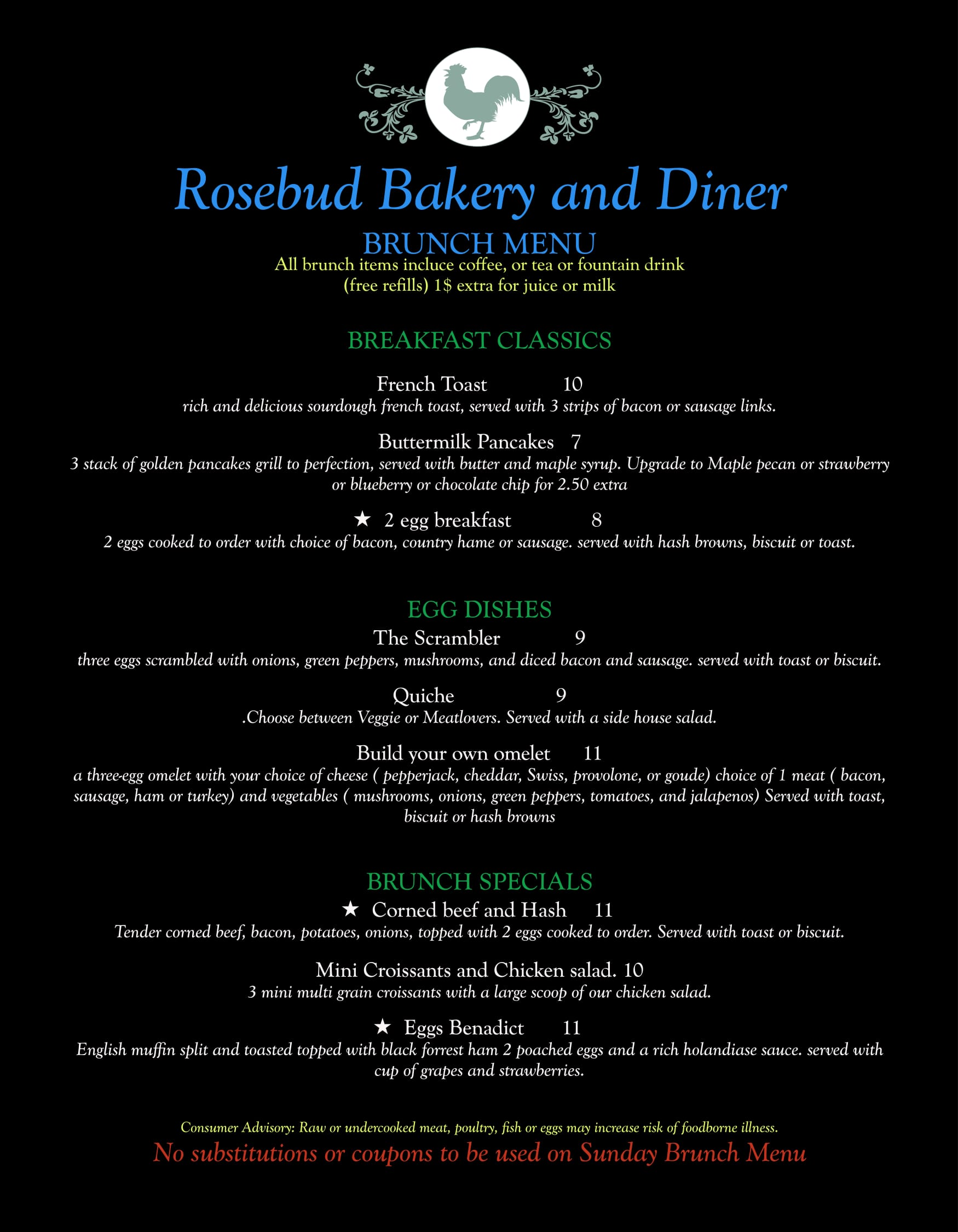 the rosebud bakery diner full menu