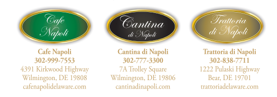 cafe napoli 302-999-7553 4391 kirkwood highway wilmington de 19808. cantina di napoli 302-777-3300 7a trolley square wilmington de 19806. trattoria di napoli 302-838-7711 1222 pulaski highway bear de 19701