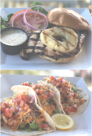 three tacos and a grilled chicken sandwich