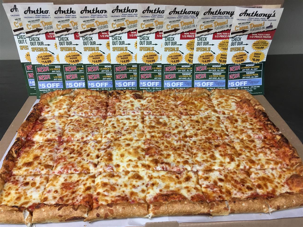 Party Size Pizza! This GIANT can be cut in 24, 36 or 48 slices!