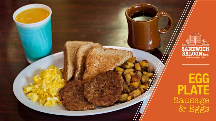 Egg Plate, Sausage and Eggs. Extra large scrambled eggs with home fried potatoes or steamed white rice, or green salad or fruit salad, toast, butter and jelly.