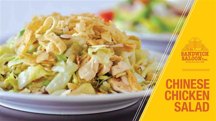 Chinese Chicken Salad. Literally the talk of the town-crisp, fresh lettuce with generous portions of chicken breast, garnished with celery, almonds, green onion and wontons-all of which are tossed with our delicious Chinese dressing