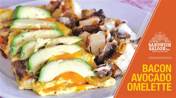 Bacon Avocado Omelet. Three eggs omelets, served with potatoes or steamed white rice, or green or fruit salad, toast, butter and jelly.