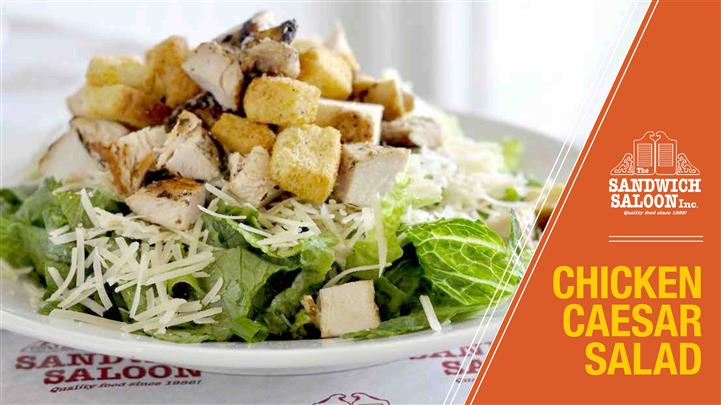 Chicken Caesar Salad. Chicken breast, parmesan cheese, croutons, and Caesar dressing