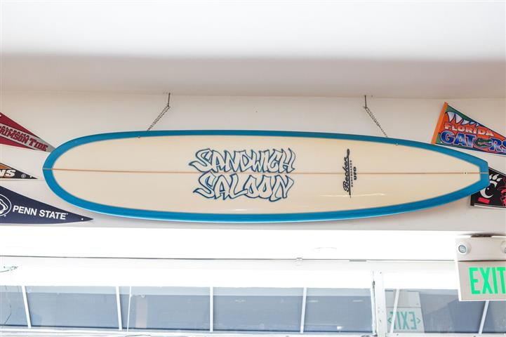 surf board decoration hanging on the inside wall