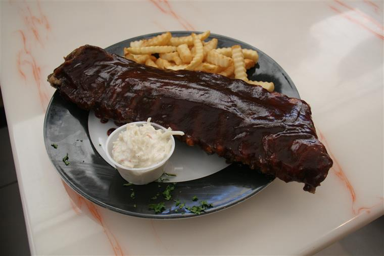 ribs with french fries and coleslaw