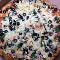 pizza with cheese and black olives
