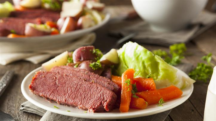 corn beef and cabbage with new potatoes