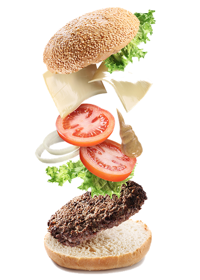 Hamburger pieces falling into place; from the bottom - bun, burger, lettuce, tomato, onion, cheese, lettuce, bun.