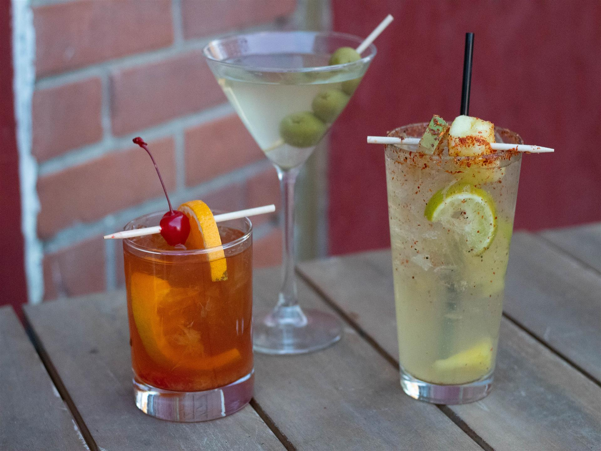 Old Fashioned, Dirty Martini, Spicy Pineapple Margarita