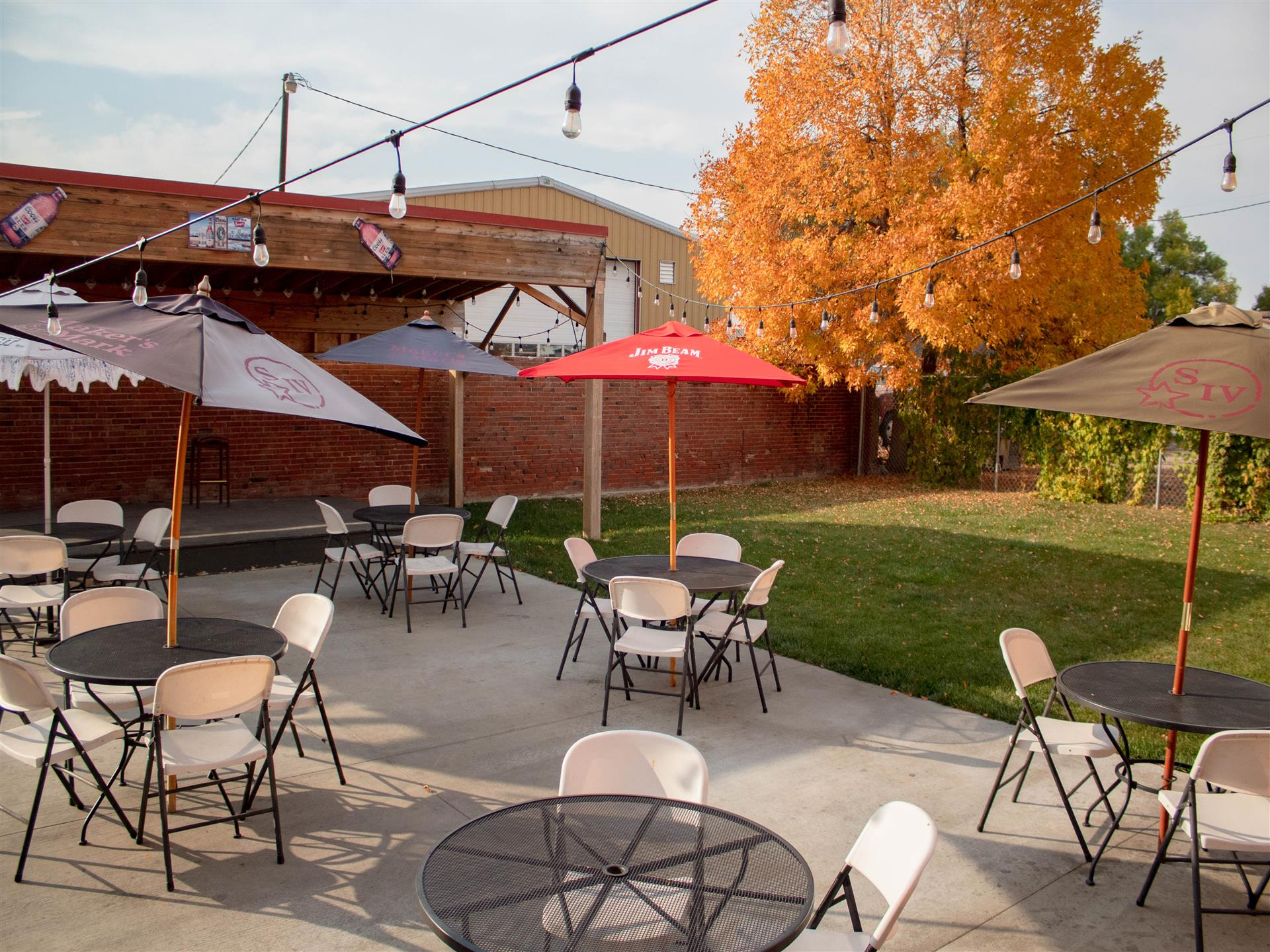Outdoor patio in the fall