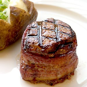 filet mignot with a baked potato
