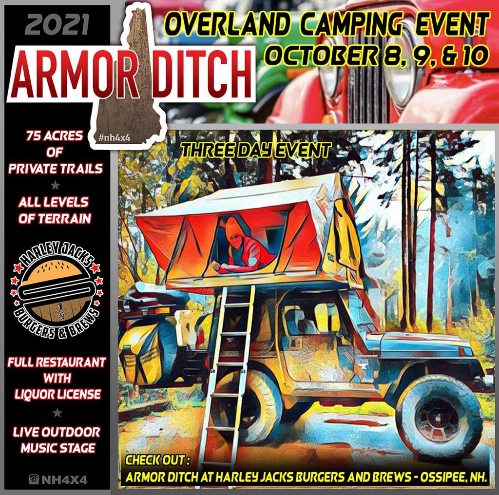 flyer for Armor Ditch overland camping events occuring october 8,9, 10th 2021
