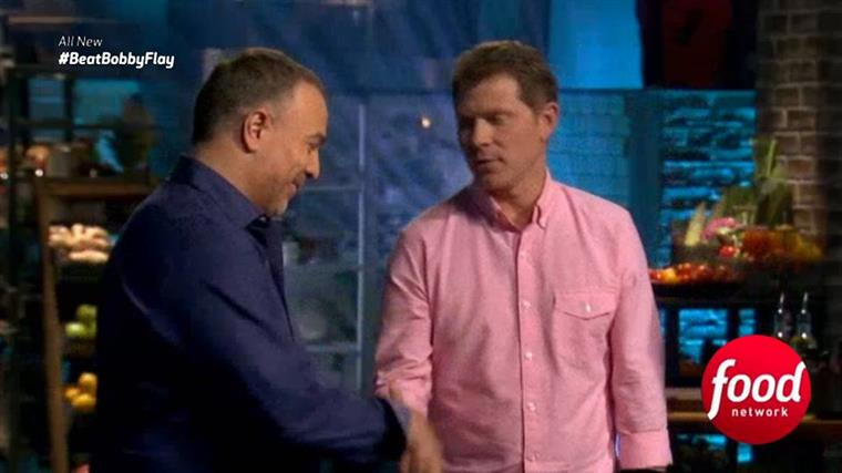 Chef Ian Russo standing next to Bobby Flay