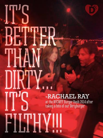dirty burger being featured on a cover of rachel ray's burger bash 2014