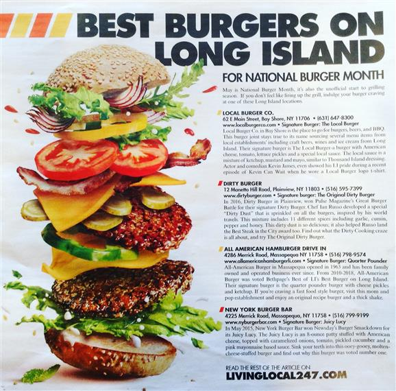 dirty burger featured in best burgers on long island magazine for national burger month