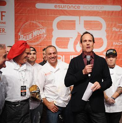 Chef Ian Russo along with other chefs at rachel ray's burger bash