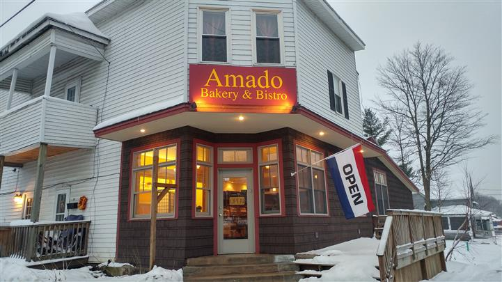 Amado Bakery & Bistro store front on a snowy day