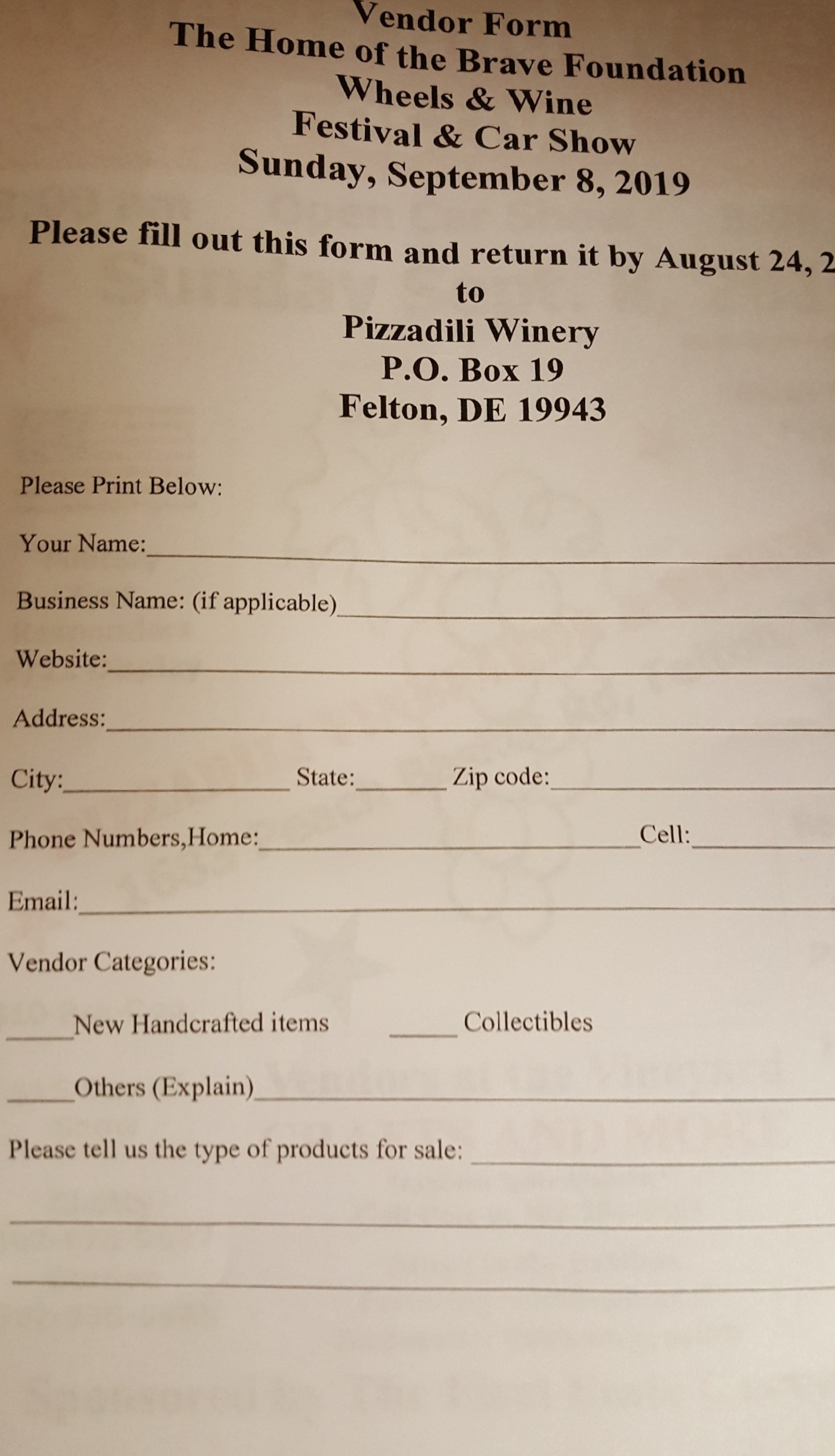 wheels and wine form