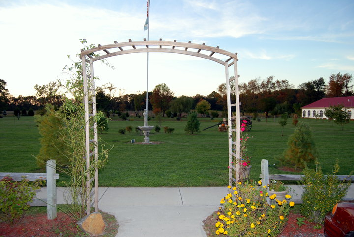 Outdoor shot of a white pergola