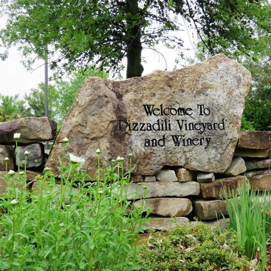"A rock saying ""Welcome to Pizzadli Vineyard and Winery"" wiht black letters, in the yard"