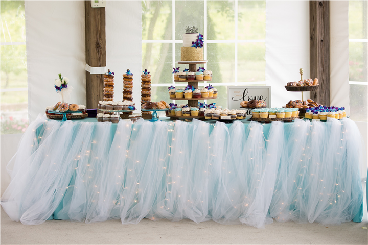 A buffet with wedding desserts