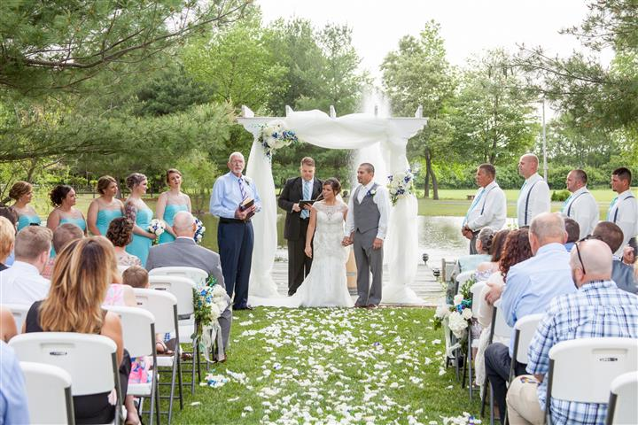 A photo of a marriage in the yard