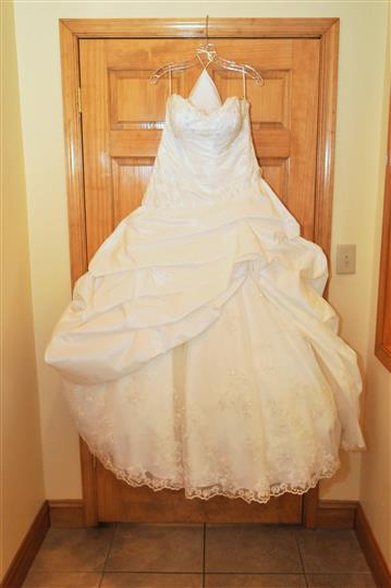 The wedding dress on a door