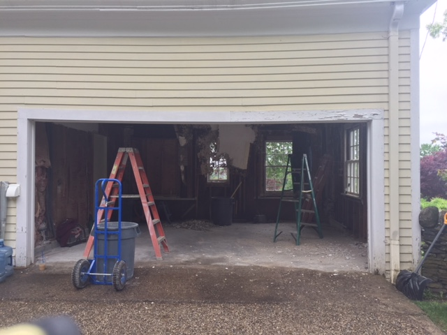 new garage with several ladders