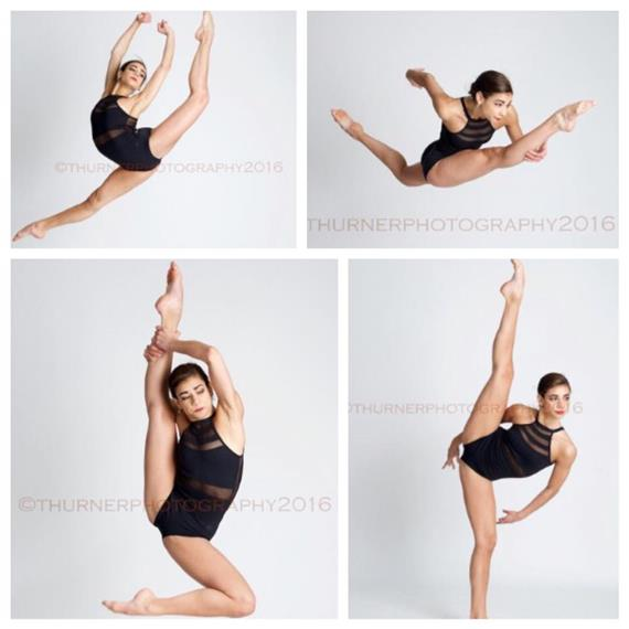 four pictures of a ballerina