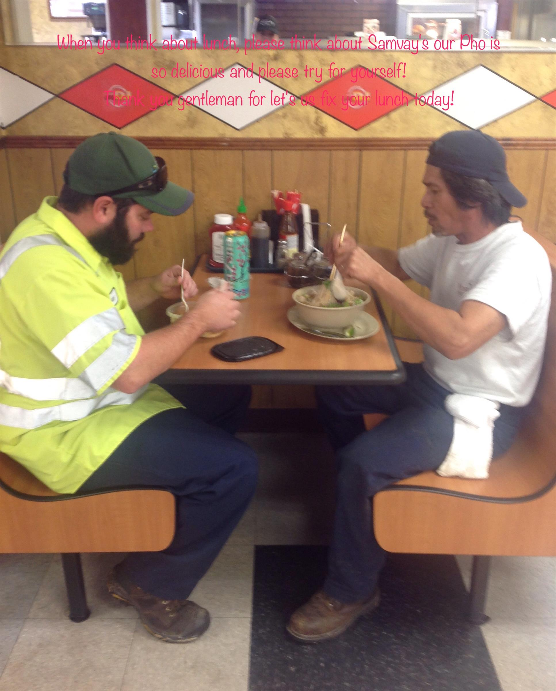 Two customers eating