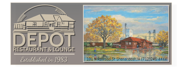 Logo Image Depot Restaurant & Lounge Established in 1983 with painting of Depot, train and trees. Address 101 N Railroad St.,Shenandoah, IA phone (712)246-4444