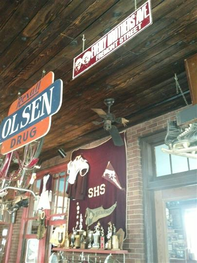 Mounted old drugstore sign - High School Spirit Shirt