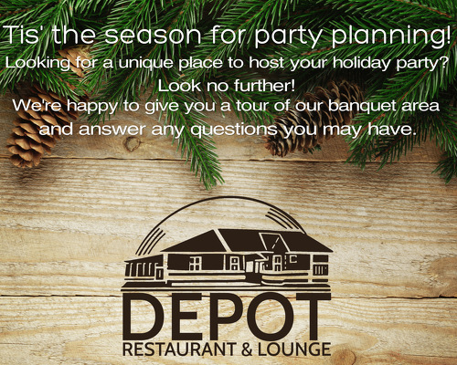 Party Planning ad wood greenery text and depot logo