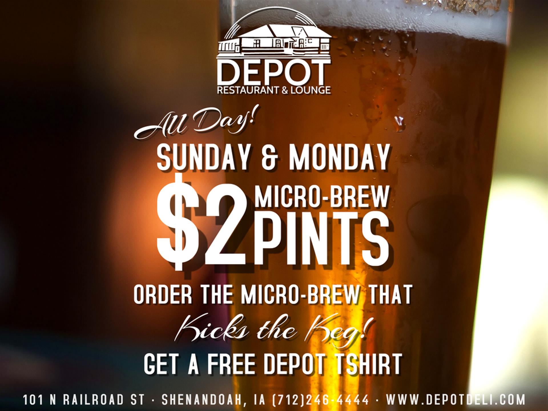 Sunday Monday $2 Micro-brews all day