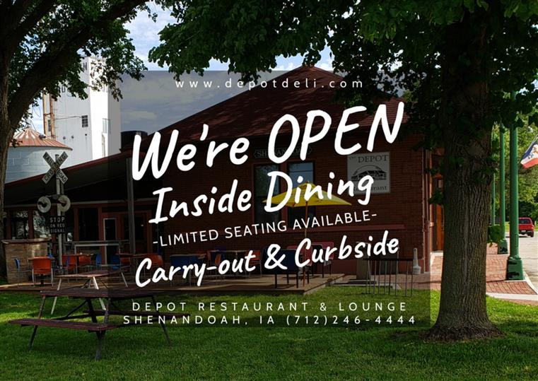 Photo of outside of Depot Restaurant & Lounge with text reading We're OPEN Inside Dining, Carry-out, & Curbside limited seating available