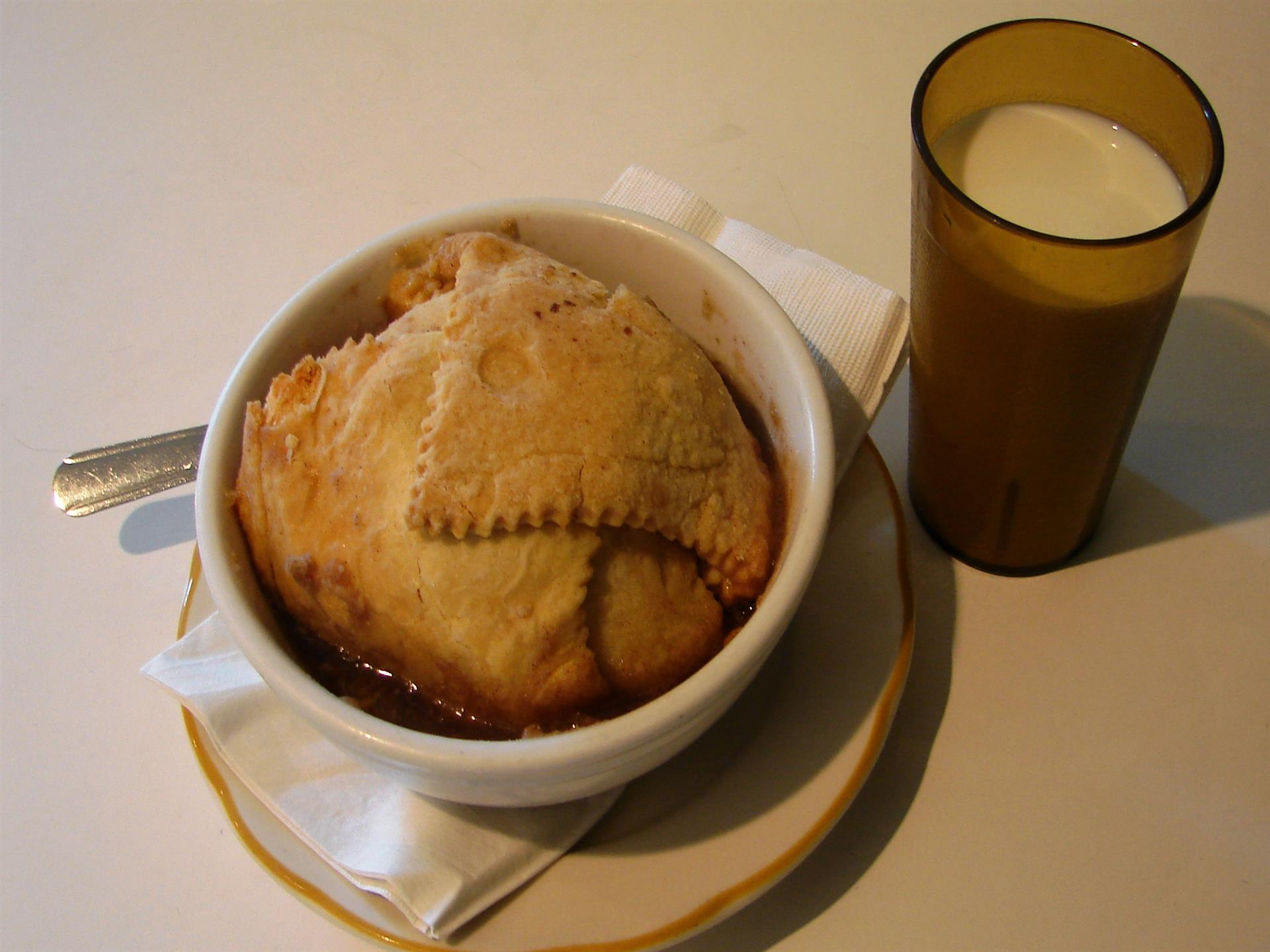 Apple dumpling with milk
