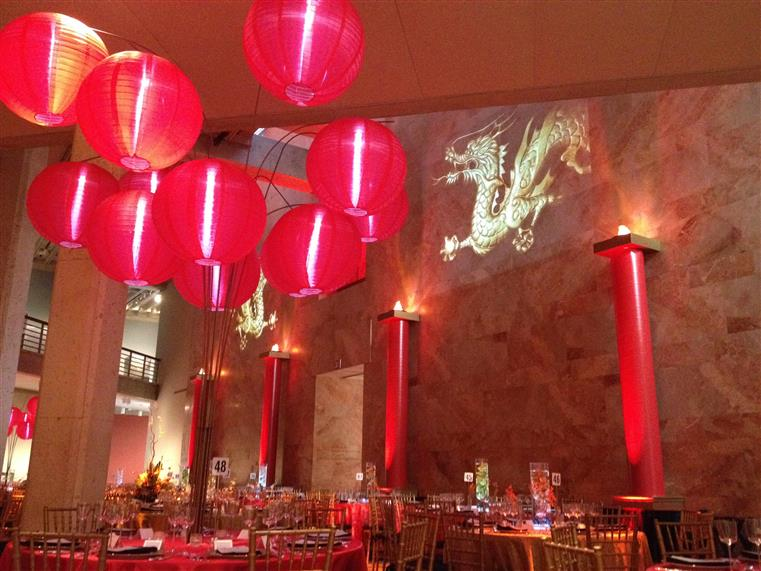 inside of a catering hall with a chinese new year theme