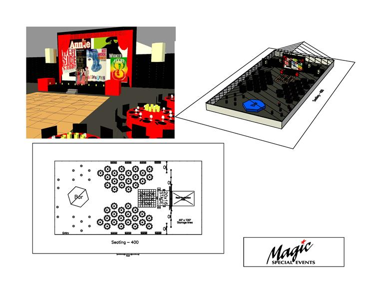 floor plans of the dj booth and dance floor with a movie screen